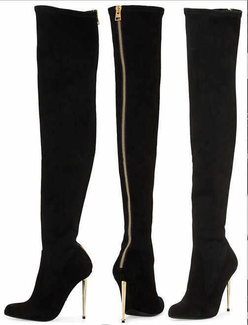Hiver nouveau cuir/daim femmes Sexy sur les bottes au genou métallique mince talons hauts dos Zipper femmes bottes chaussures noires Botas
