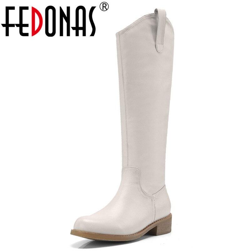 FEDONAS Brand Knee High Boots Women High Heels Zipper Warm Long Winter Shoes Woman Quality High Motorcycle Boots New High Boots epik high seoul