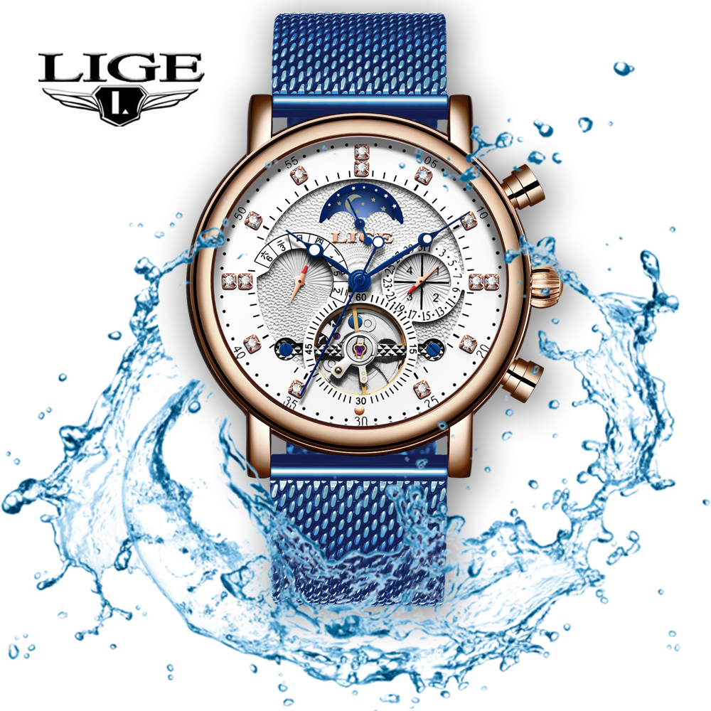 Men s Watches LIGE 2019 New Top Brand Luxury Fashion Automatic Mechanical Watch Men Mesh Stainless