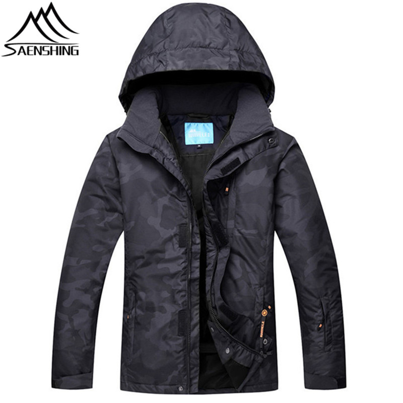 SAENSHING Ski Jacket Men Mountian Skiing Jackets Winter Waterproof Breathable Snowboard Jacket Camo Pattern Wear-Resistant Coats