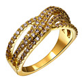 Limited edition ol lady dress ring Elegant jewelry paved with sparkly Aaa Zircon Gold and Rhodium plate Finger rings for women