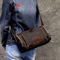AETOO Crazy Horse Leather Shoulder Messenger Bag Leather Retro Trend Multi Pocket Leather Men Bag
