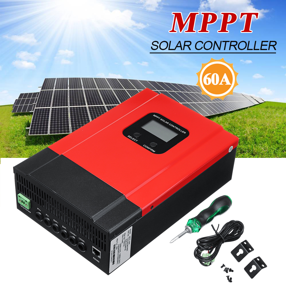60A LCD MPPT Solar Charge Controller 12V/24V/36V/48V Solar Panel Battery Regulator Max 150V DC Input Solar Controllers mppt 100a solar charge controller 12v 24v 36v 48v auto for max 150v input with memory function 2 years warranty solar regulator