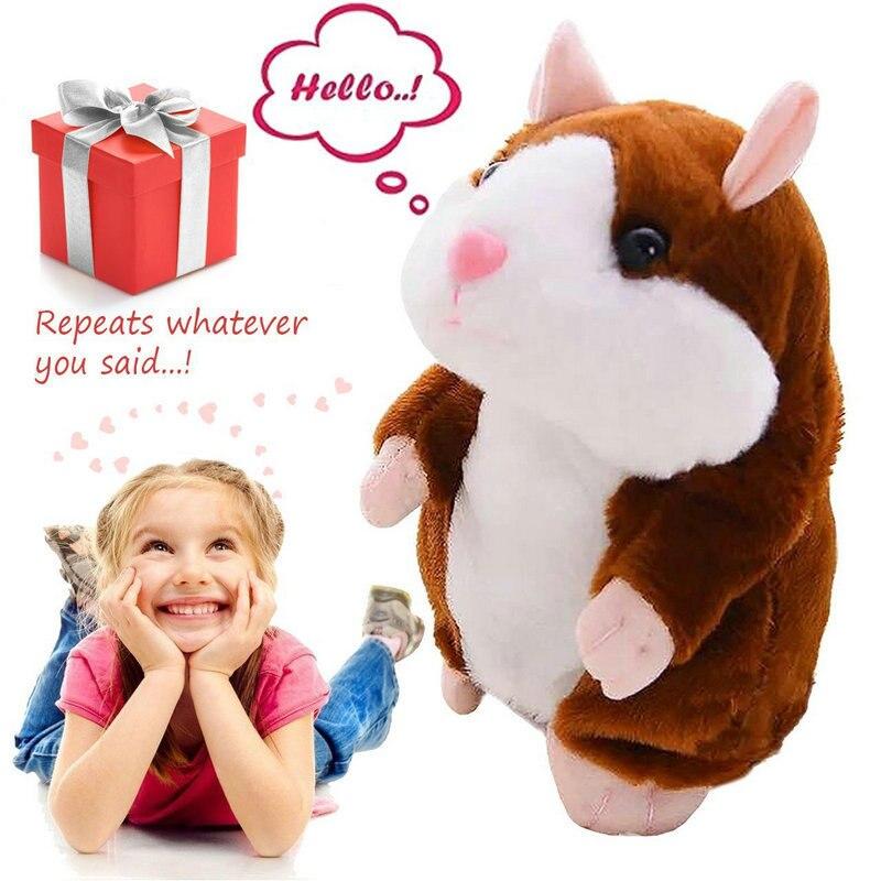 15 cm hámster electrónico Animal de peluche de juguete de felpa imita repetir lo que usted dice después de las palabras suena Regalo de Cumpleaños niño muñeca Linda