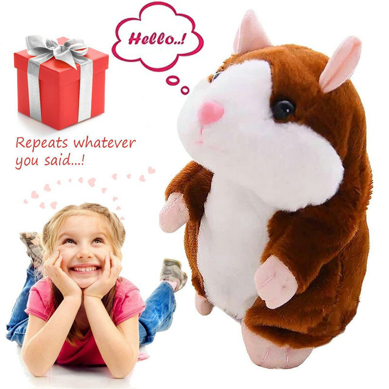 15CM Talking Pet Hamster Electronic Animal Plush Toy Mimics Repeat What You Say After Words Sounds Birthday Gift Kid Cute Doll