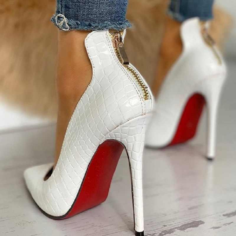 Zapatos de tacón alto sexis de punta estrecha para oficina para mujer, zapatos de tacón de aguja blancos y negros a la moda para mujer, zapatos de talla grande
