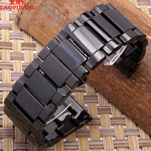 Керамические металлический ремешок для часов Ремешок Для Часов Черный 24 мм 26 мм 28 мм 30 мм dz4283 dz7221 dz7257