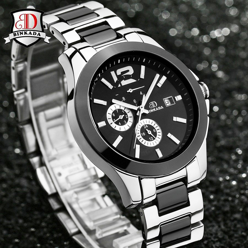 купить Casual Business Stainless Ceramic Watches Relogio Masculino Luxury Sport Watch Mens Automatic Skeleton Mechanical Wristwatches по цене 3802.08 рублей