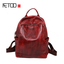 AETOO The new Europe lady handmade leather bags female head layer cowhide leather backpack Backpack Bag retro all-match female