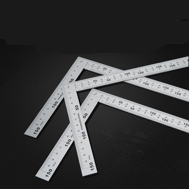 цена на 1pcs Stainless Steel Angle Square Broadside Knife-Shaped 90 Degree Angle Blade Ruler Gauge Blade Measuring Tool 150 x 300mm