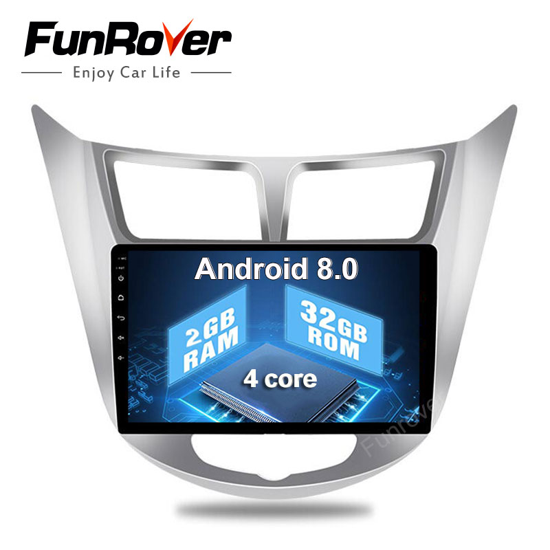 2018 Funrover 2 г + 32 г Android8.0 2din Автомобильные магнитолы с dvd магнитофон Gps 9 дюймов для hyundai Solaris verna i25 Радио Видео навигация