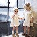 2016 New Girls Vestido de Camisola Criança Crianças Camisola de Manga Longa Com Chapéu Moda Inverno Crianças Quente Malha Camisola Tops Da Menina