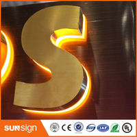 Aliexpress Supplier Backlit Signs Waterproof LED 3d Stainless Steel Letters