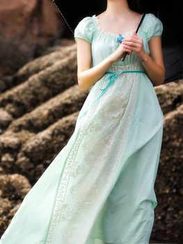 vestido Women Summer Mint Green Silk Cotton Long Dress Vintage Royal Elegant Lace Embroidered White/Purple vestidos de festa2020