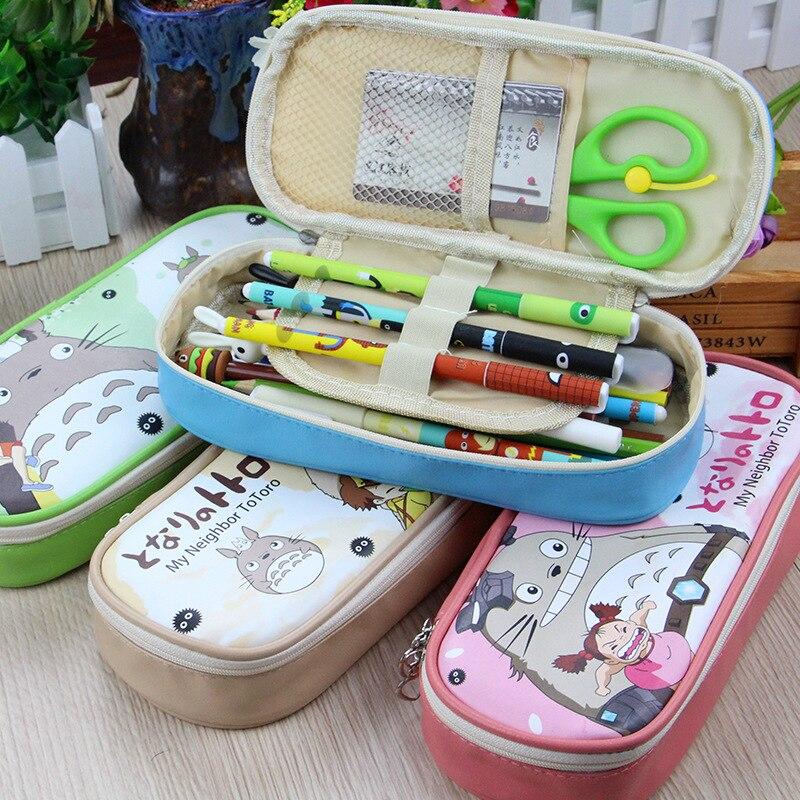 Cute School Pencil Case Kawaii Cartoon Penality Pencilcase PU Leather Large Pen Box Bag Creative Kids Girls BoysPouch For Totoro