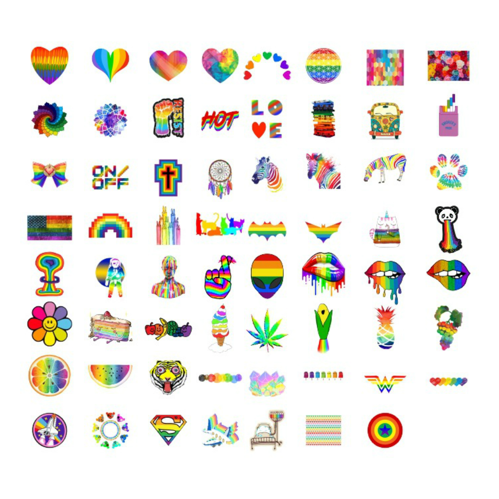 Aliauto 63pcs/pack Fashion Rainbow Graffiti Car Sticker Laptop Luggage Skateboard Motorcycle Keyboard Phone Toy Helmet Jdm Decal Relieving Rheumatism And Cold Exterior Accessories Automobiles & Motorcycles