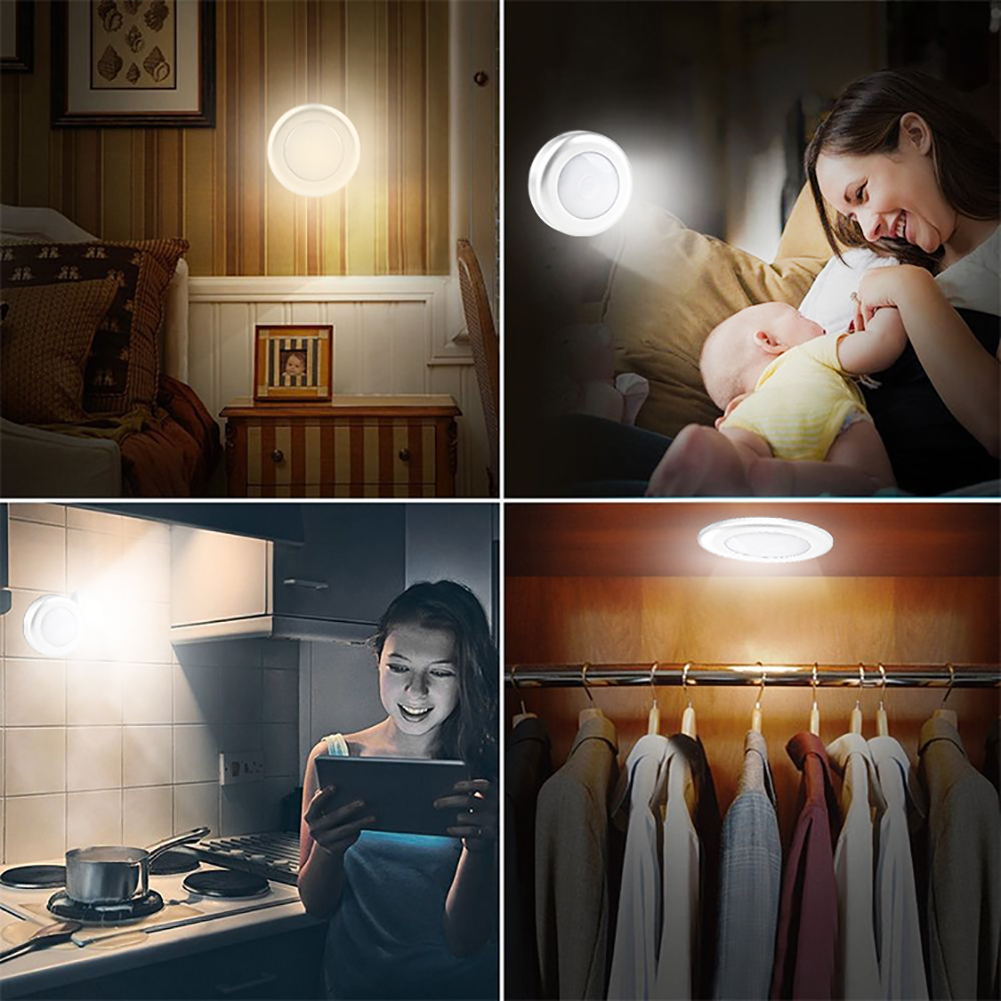 6 Led Battery Powered Stepless Dimming  Control Portable Kitchen Pat Bedroom Silver Cabinet Lamp Night Light Adhesive