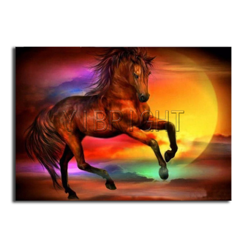 Full Round Diamond embroidery Cross stitch red horse Full Square Diamond painting sunset DIY 3D Diamond mosaic animal