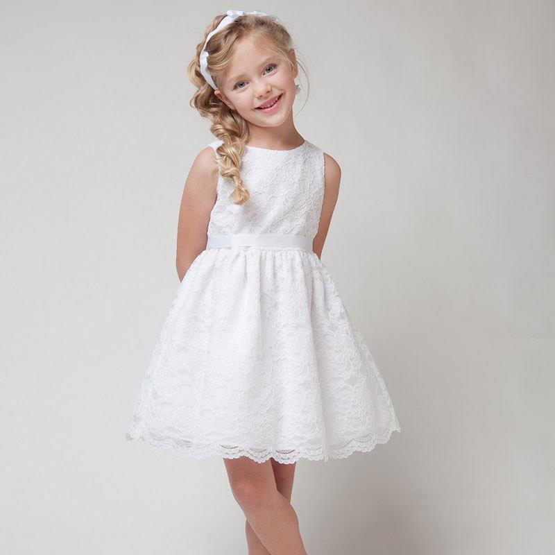 Niñas vestidos de verano 2016 ropa de los niños niñas hermoso vestido de encaje blanco niñas