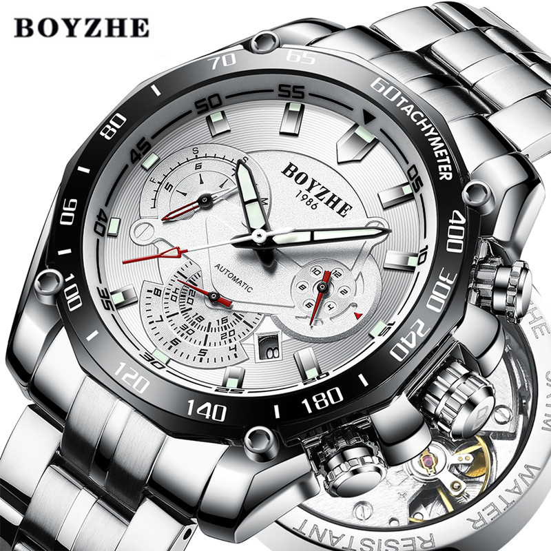 BOYZHE Men Automatic Mechanical Watch Sport Black Luminous Luxury Brand Watch Men Stainless Steel Gold Watches Relogio MasculinoBOYZHE Men Automatic Mechanical Watch Sport Black Luminous Luxury Brand Watch Men Stainless Steel Gold Watches Relogio Masculino