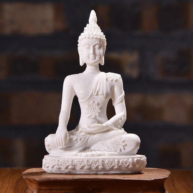 VILEAD 16 Style Buddha Statue Nature Sandstone Thailand Buddha Sculpture Hindu Fengshui Figurine Meditation Miniature Home Decor 4