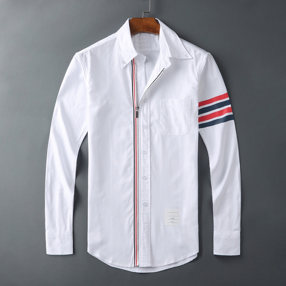 New 2019 Men Oxford Embroidery Striped Fashion Cotton Casual Shirts Shirt High Quality Pocket Long-sleeves Top M 2XL #GG3