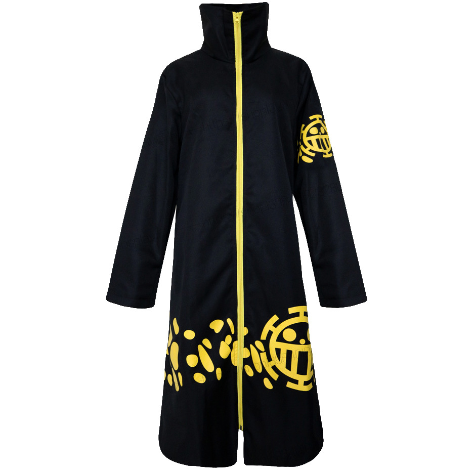 Japan Anime Two Years Later ONE PIECE Trafalgar Law Cosplay Costumes Black Cloak Plus Size Zipper Robe Collection Gift