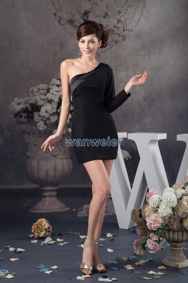 free shipping 2016 new design hot seller one shoulder long sleeve custom size/color sexy black real photo short   Cocktail     Dress