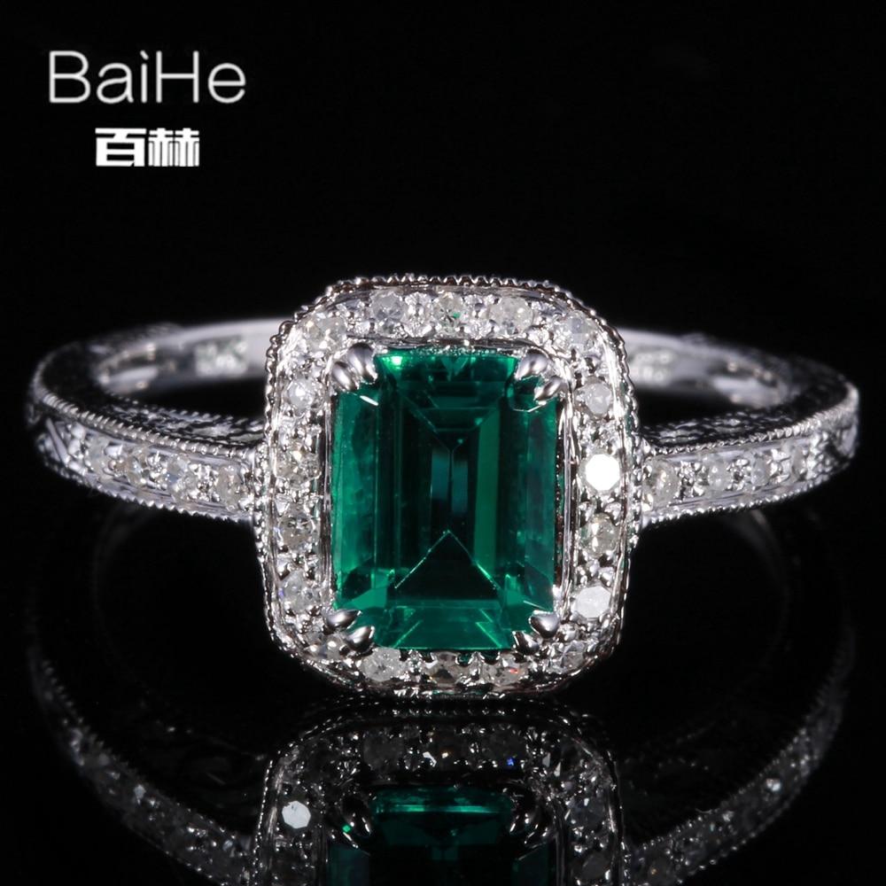BAIHE Sterling Argent 925 0.81ct Certifié Impeccable Émeraude Traités Emerald Engagement Femmes À La Mode Beaux Bijoux uniques Anneau