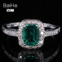 BAIHE Sterling Silver 925 0.81ct Chứng Nhận Flawless Emerald CUT Điều Trị Emerald Engagement Phụ Nữ Hợp Thời Trang Đồ Trang Sức Mỹ unique Nhẫn