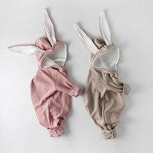 Milancel macacão de bebê estilo coelho, macacão de algodão para meninas recém nascidas, macacão de coelho fofo com orelha