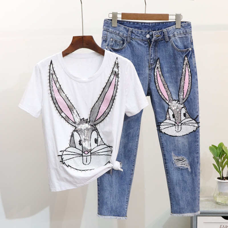 ALPHALMODA European Style Sequins Cartoon Rabbit Tshirts + Broken Hole Calf-length Jeans Women Spring Fashion Pants Suits