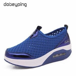 Image 1 - Женские сетчатые кроссовки dobeyping, дышащие кроссовки на плоской платформе, без застежки, для весны и лета, 2018