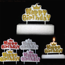 2018 New Crown Gold Glitter HAPPY BIRTHDAY Alphabet Birthday Candle Kids Gift Cake Candles Decoration Shiny Red Silver Pink Blue