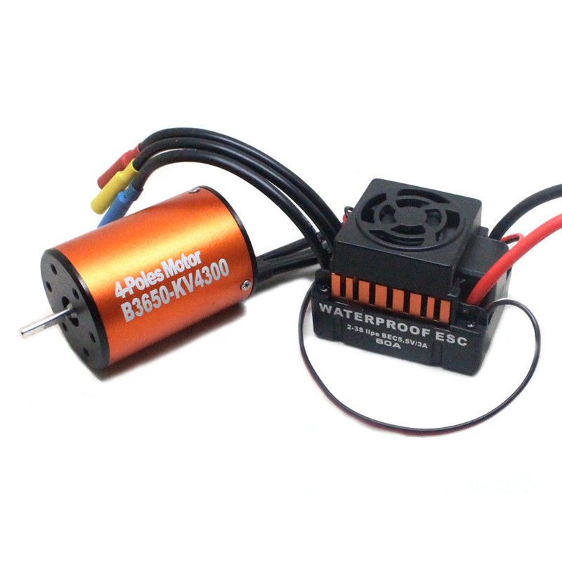 Hot Sale Waterproof 3650 4300KV Brushless Motor w/ 60A ESC Combo Set for 1/10 RC Car W9M5 Drop Shipping #1228 hobbywing ezrun max8 v3 t trx plug waterproof 150a esc brushless esc 4274 2200kv motor led program card for 1 8 rc car crawler