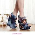 Damas de Mezclilla Azul Creativo Super Alta Plataforma de la Cuña Zapatos Peep Toe Sling Back Verano Zapatos Sandalia