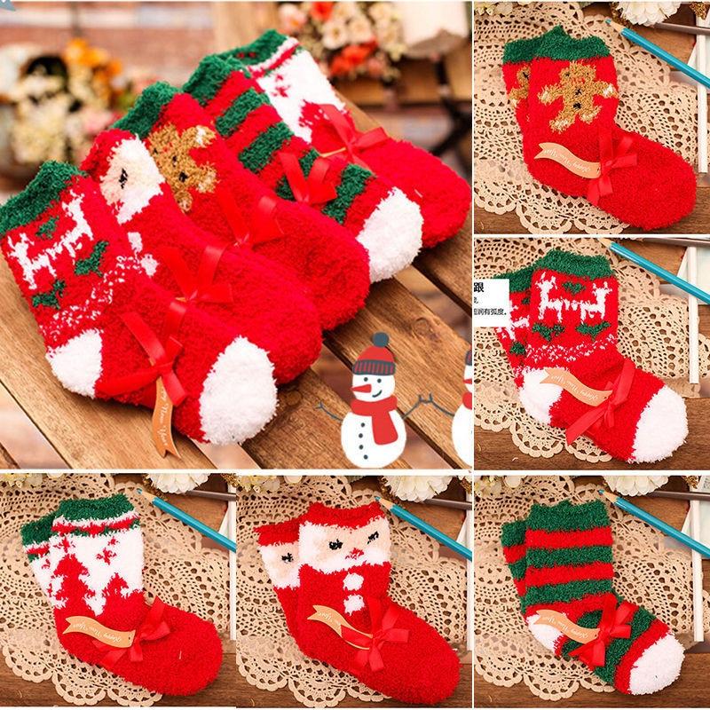 Baby boys girls warm socks infant toddler kids christmas santa soft