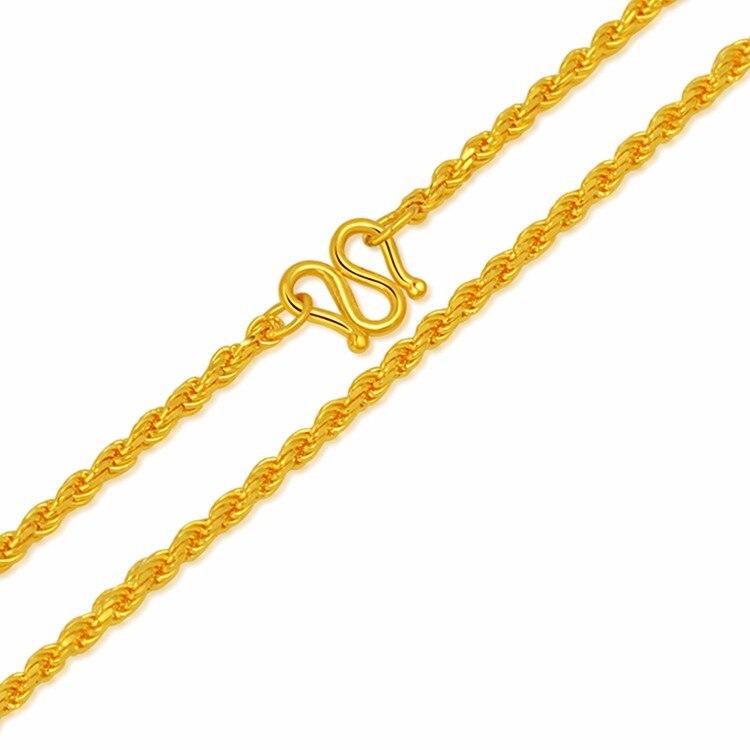 Mode arrivée 24 K or jaune corde chaîne collier 17 pouces femmes collier 5.88g
