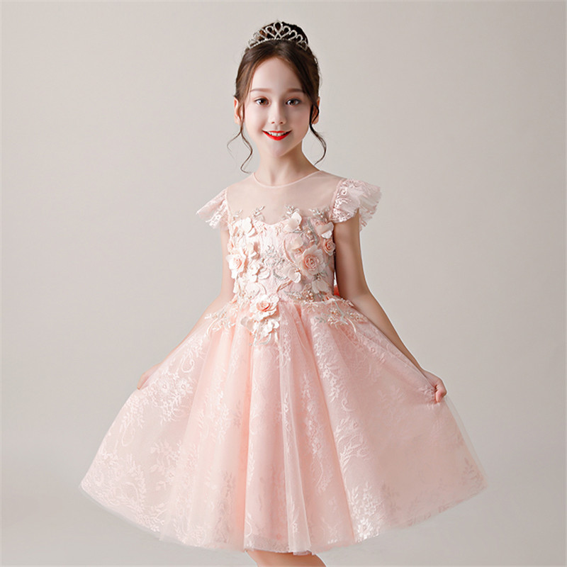 Baby Kids Sweet Pink Color Flowers Birthday Wedding Party Prom Dress 2018 Summer Luxury Girls Children Piano Host Pageant Dress 2018 new korean sweet autumn summer children baby birthday wedding party prom dress kids girls pink color flowers pageant dress