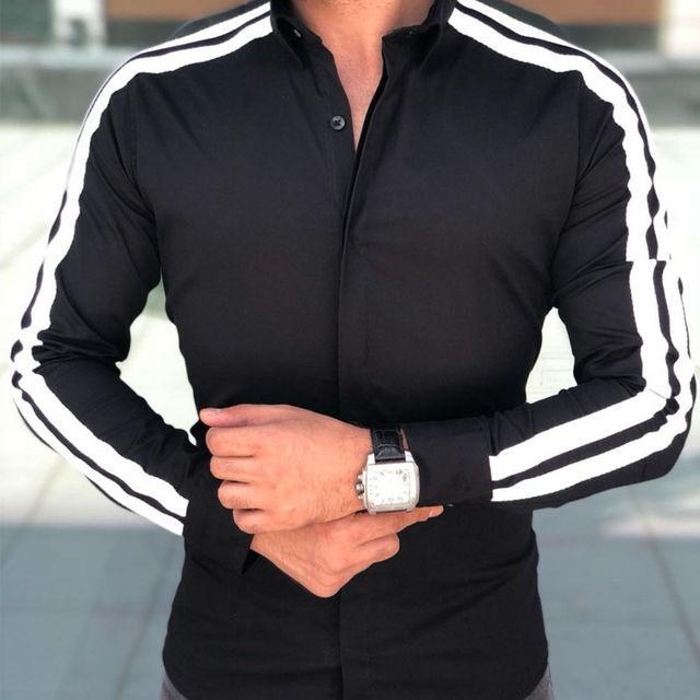 Long Sleeve Button Down Strip Shirt 2