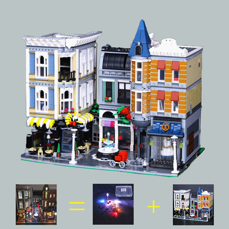 Building Blocks City Street 15019 4002pcs Assembly Square set Led Light Set compatible 10255 Toys Creator City Street Lighting in stock with light 15019b 4122pcs lepin 15019 4002pcs assembly square city serie model building kits brick toy compatible 10255