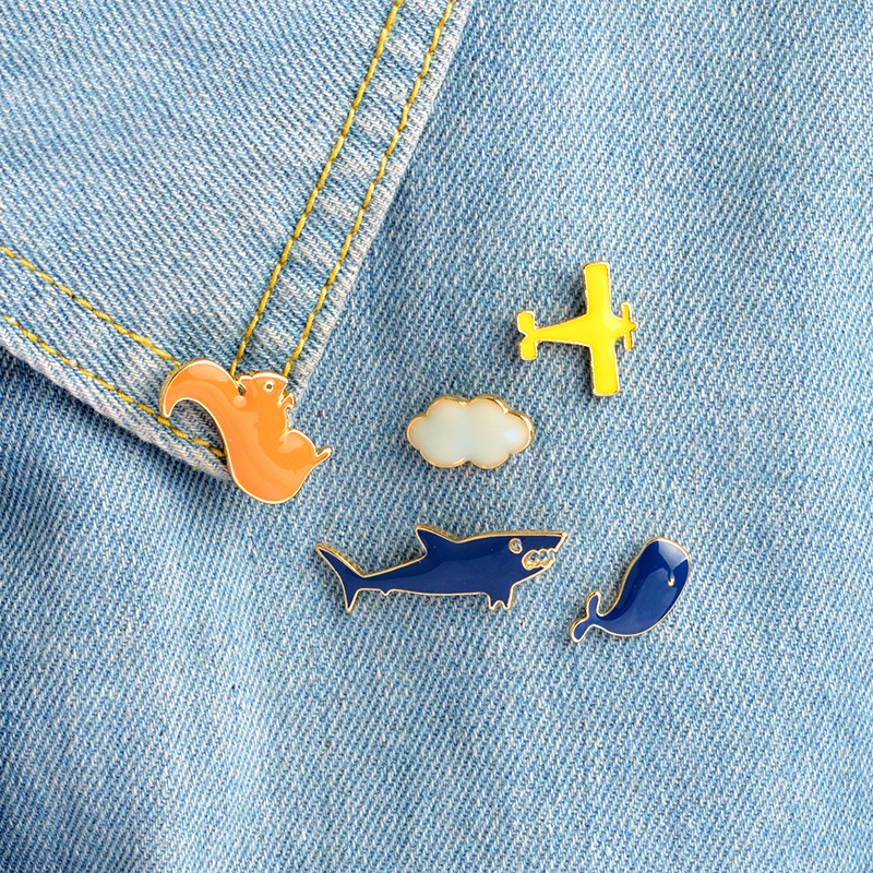 Fashion Cute Tiny Collar Lapel Pins Shark and <font><b>Whale</b></font> Pin Brooches Animal Brooch Accessories for Backpack Hats Men Squirrel Brooch image