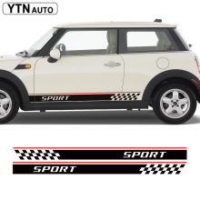 free shipping 2 PC racing side body plaid stripes sports for john cooper works hatch /the new mini
