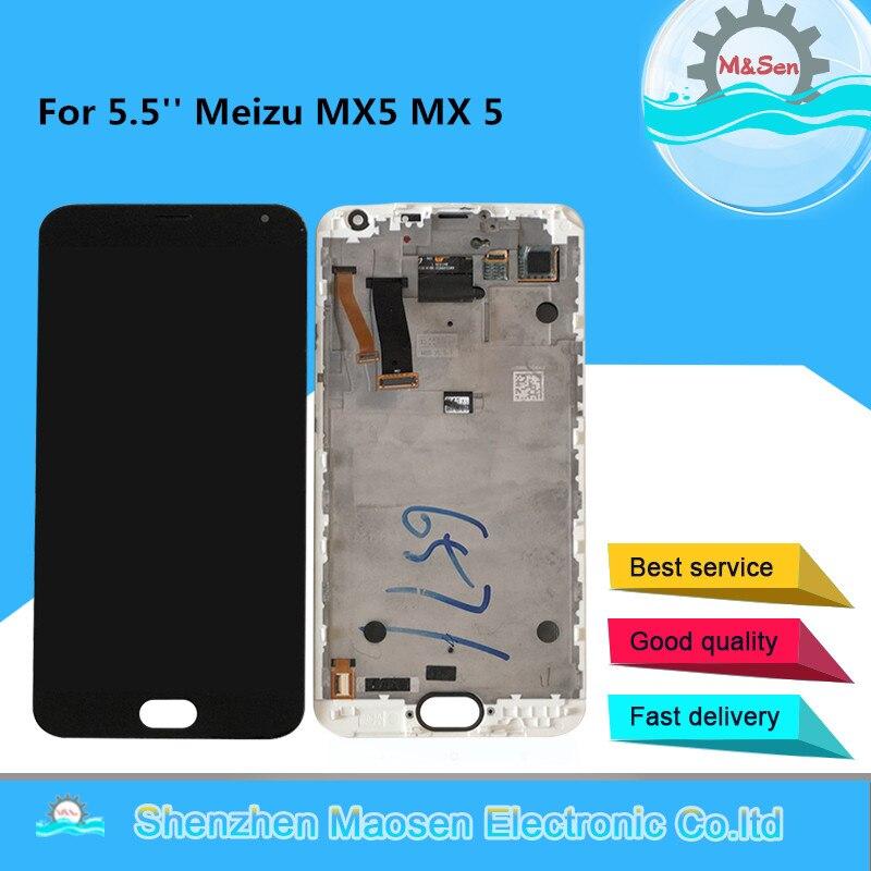 M & sen original para 5.5 mememeizu mx5 mx 5 display lcd tela com moldura + painel de toque digitador para meizu mx5 assembléia quadro
