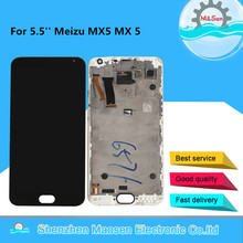 Meizu MX5 디스플레이 프레임 어셈블리 용 프레임 + 터치 패널 디지타이저가있는 Meizu MX5 MX 5 LCD 디스플레이 스크린 용 5.5 original M & Sen