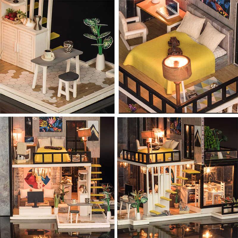Hot Sale DIY Doll House Wooden Miniatura dollhouse Miniature Doll House With Furniture Kit Villa LED Lights Birthday Gift K033
