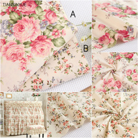 160 100cm 100 Cotton Fabric Twill Flower Fabric DIY For Rural Bedding Cloth Sewing Patchwork Quilting