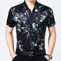 New Men's Short Sleeved Silk Shirts, Summer Casual Prints, 95% Silk Satin Shirts, Men's Half Sleeves Tops.
