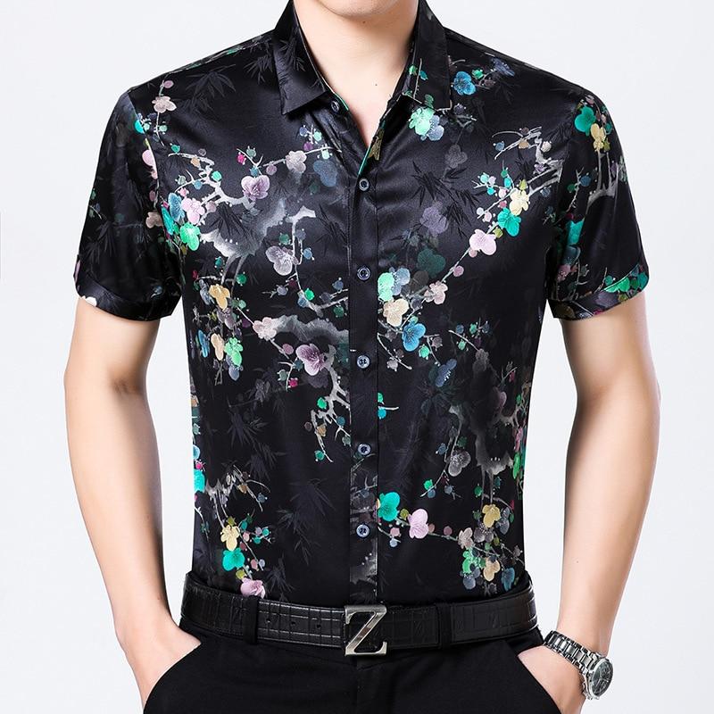Nouvelles chemises en soie à manches courtes pour hommes, imprimés décontracté és d'été, chemises en Satin de soie 95%, demi-manches pour hommes hauts.