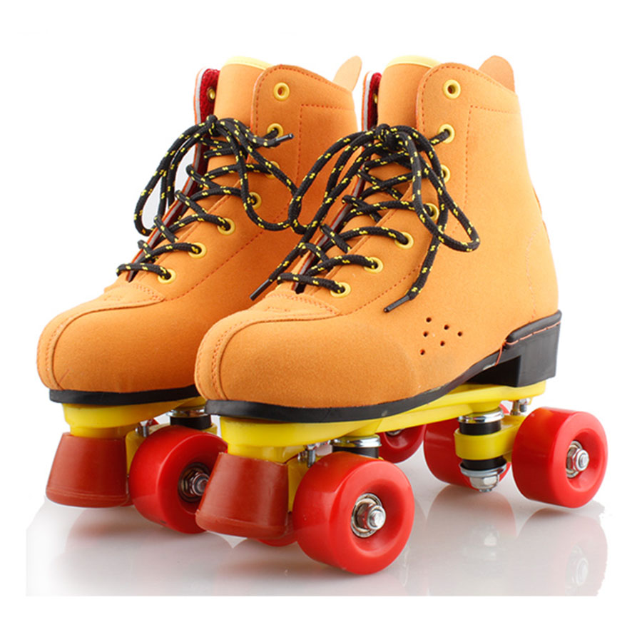 Roller shoes shop - Reniaever Roller Skates Brown Leather Double Line Skates Women Lady Base 4 Red Pu Wheels Two Line Skating Shoes Patines
